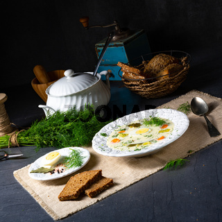 Dill soup with potato, fresh dill and egg