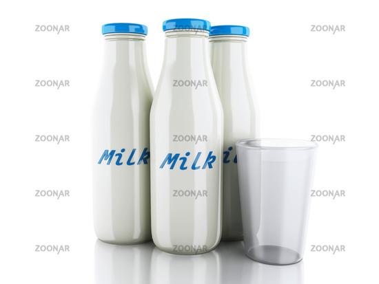 3d illustration. Milk bottles and glass on white b