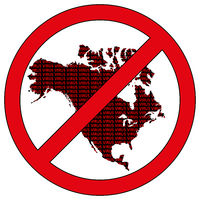 North America silhouette with the word virus in prohibitory sign