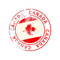 Canada sign, vintage grunge imprint with flag on white