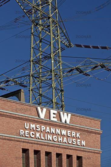 Substation Recklingkausen, route industrial culture, Recklinghausen, Ruhr area, Germany, Europe
