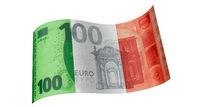 100 Euro note in green white red (Italian flag)
