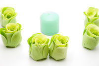 Rose soap with candle