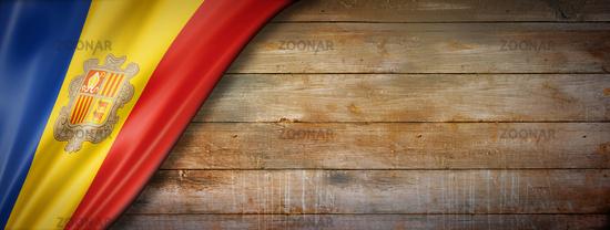 Andorran flag on vintage wood wall banner