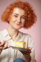 girl eats dessert