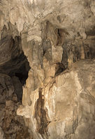 Drip stone formations in a cave