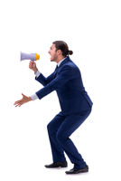 Young businessman with loudspeaker isolated on white