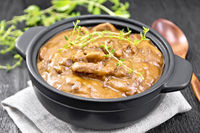 Goulash of beef in pan on napkin