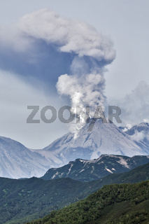 Mountain landscape: eruption active volcano Kamchatka Peninsula