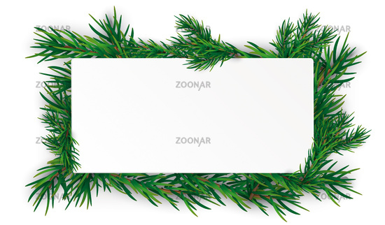 Christmas White Rectangle Green Twigs