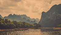 Summer scenery of Li River in China