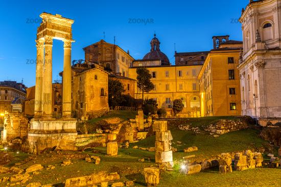 The Temple of Apollo Sosianus in Rome, Italy, at twilight