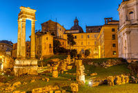 The Temple of Apollo Sosianus in Rome, Italy, at twilight