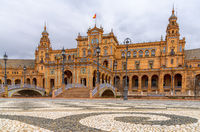 View of the Plaza de Espana in the Parque de Maria Luisa in Seville in Andalusia