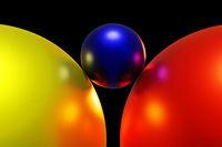 Three colorful balls, 3D illustration