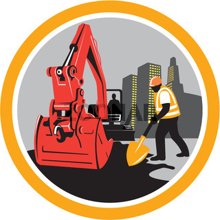 Mechanical Digger Construction Worker Circle
