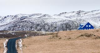 Icelandic landscape with cottage house, Iceland