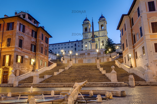 The empty Spanish Steps in Rome at dawn