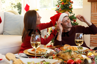 Young couple spending christmas together