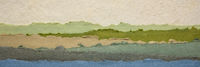 ocean or lake abstract landscape created with handmade Indian paper
