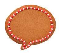 Christmas Gingerbread Speech Cloud Cookie Isolated