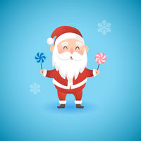 Christmas funny Santa Claus holding lollipops, vector illustration.