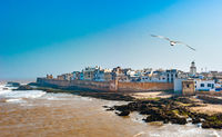 Panoramic view of Essaouira city walls, Morocco.