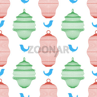Set of Bird Cages Seamless Pattern Isolated on White Background