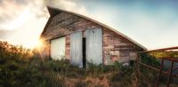 Rural Abandoned Barn at Sunset, No People, Farm, Agriculture