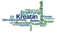 Word Cloud on a white background - Creatine - Kreatin (German)