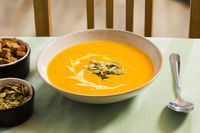 Freshly cooked delicious soup served with seeds