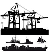 Port terminal with ships Vektor illustration