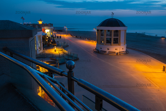 Seaside walk in Borkum town at night