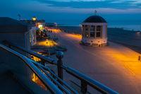 Seaside walk in Borkum town at night