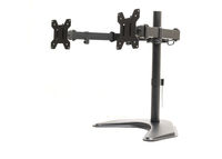 Side view modern dual monitor desk mount stand isolated on white background