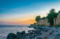 The chalk cliffs near Klein Zicker on the baltic sea island Ruegen at sunset