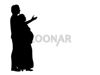 Silhouette happy couple expecting baby thinking life with child