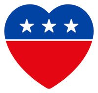 Flat Raster Love Heart Icon in American Democratic Colors with Stars