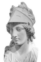 Greek ancient statue of goddess Athena. Woman marble head in helmet sculpture isolated on white