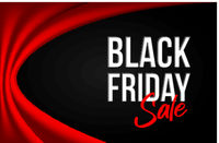 Black Friday inscription on black background with bright red curtain .