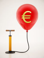 Manual hand pump connected to the inflated red balloon with Euro icon. 3D illustration