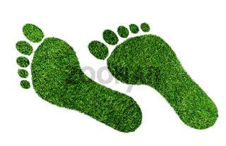 ecological footprint concept, barefoot footprint made of lush green grass
