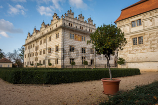 View of Litomysl Castle, one of the largest Renaissance castles in the Czech Republic. UNESCO World Heritage Site. Sunny wethe wit few clouds in the sky.