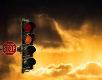 Corona traffic light switching for red to dark red