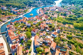 Town of Vrboska aerial view