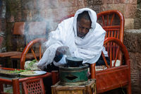 Man roasting coffee, Ethiopia