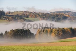 leuchtend schöne Herbstlandschaft des Böhmerwaldes im Nebel - Austria