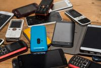 Mobile phones collected for raw material recycling - smartphones