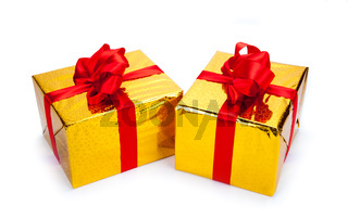 Two gold gift boxes