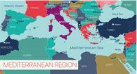 Mediterranian sea region detailed editable map
